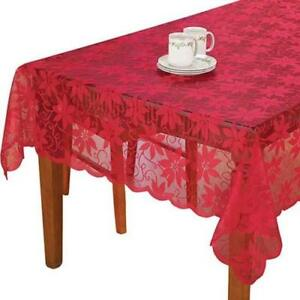 Christmas-Rectangle-Table-Cloth-Vintage-Red-Lace-Floral-Tablecloth-Wedding-Party