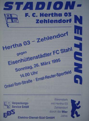 Programm 1994//95 Hertha 03 Zehlendorf Eisenhüttenstädter FC Stahl