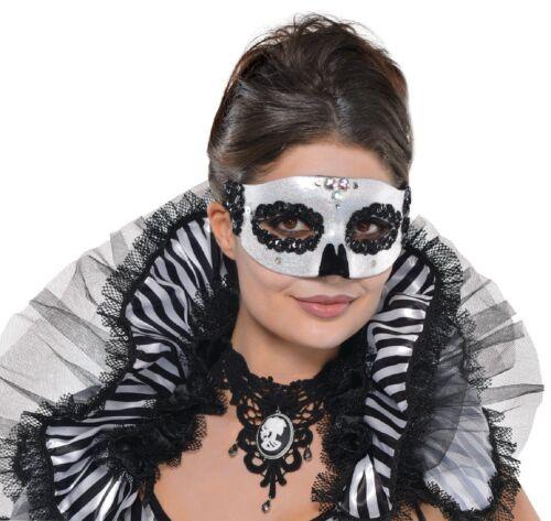 Ladies Sparkly Venetian Skull Skeleton Halloween Eye Fancy Dress Outfit Mask