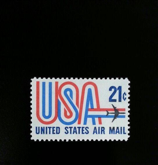 """1971 21c """"USA"""" and Jet, Air Mail Scott C81 Mint F/VF NH"""