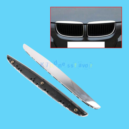 2Pcs CHROME BONNET KIDNEY GRILLE TOP TRIM STRIP For BMW 3 E90 E91 2005-2008