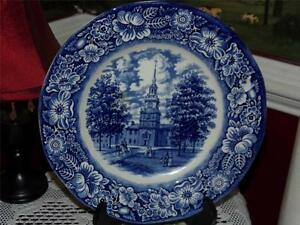 LIBERTY-BLUE-COLONIAL-SCENES-STAFFORDSHIRE-IRONSTONE-INDEPENDENCE-HALL-PLATE
