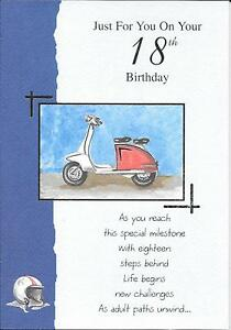Larger Size 18th Birthday Card Age 18 Scooter Moped Ebay