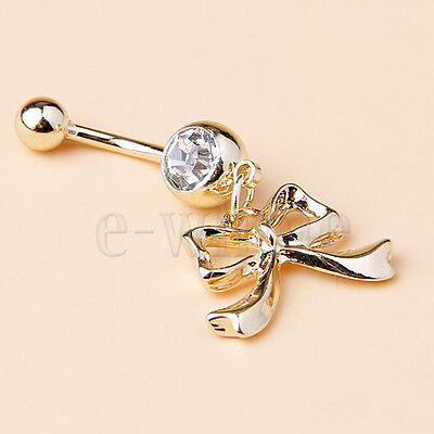 Gold Bow Bowknot Surgical Steel Navel Belly Bar Button Ring Body Piercing TW
