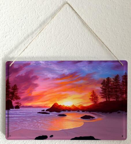 """Tin Sign Feng Shui Picture Beach sea trees Decorative Wall Plate 8X12/"""""""