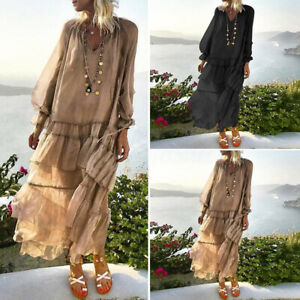 Women-Mesh-Lace-Up-Puff-Sleeve-Long-Dress-Beach-Bohemia-Ruffle-Chiffon-Dresses