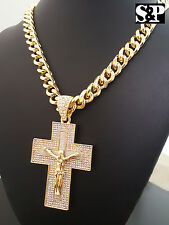 "Gold PT CZ Big Jesus Cross Pendant & 10mm 30"" Cuban Heavy Chain Hip Hop Necklace"