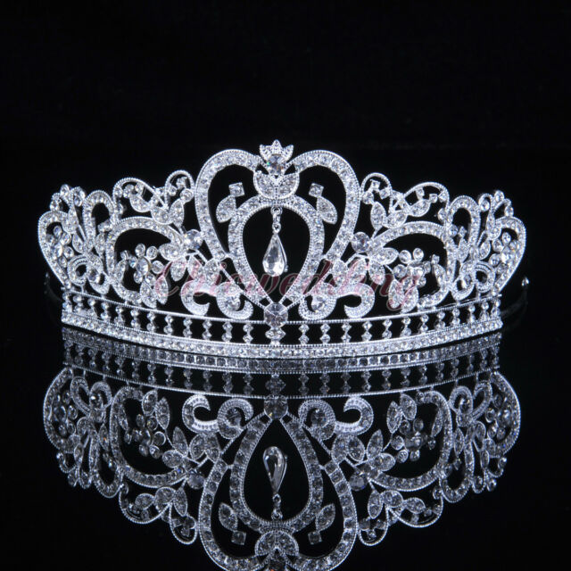Bridal Tiara Crown Veil Headpiece Rhinestone Wedding Prom Pageant Crown