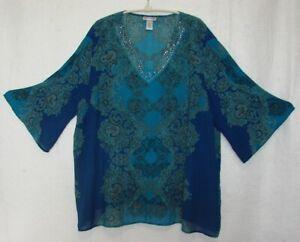 Catherine-039-s-Paisley-Blue-3-4-Kimono-Sleeve-Tunic-Top-Plus-Size-1XWP-18-20-WP