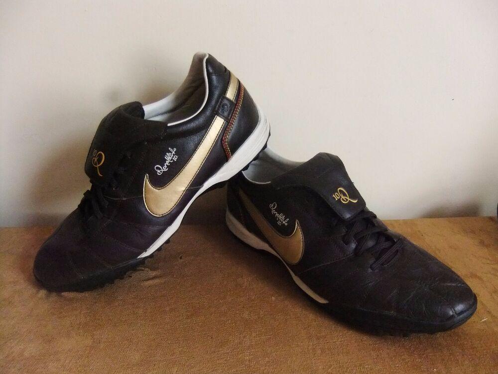 NIKE TIEMPO Ronaldinho Football 10 Bottes Baskets Chaussures Q10 en Partie Cuir 11 RARE-