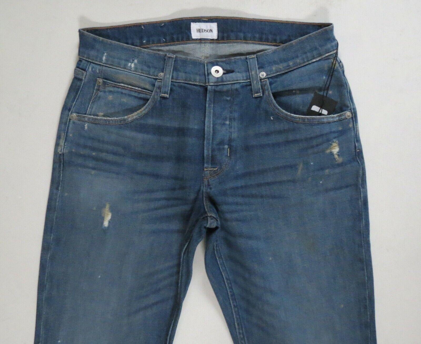 Hudson Men Jeans Blake 38 W x 34 Slim Straight Distressed Stretch Authentic NWT
