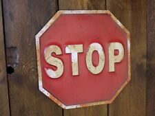 Vintage Retro Stop Sign Embossed Matal Road Plaque Wall Hanging Novelty Gift