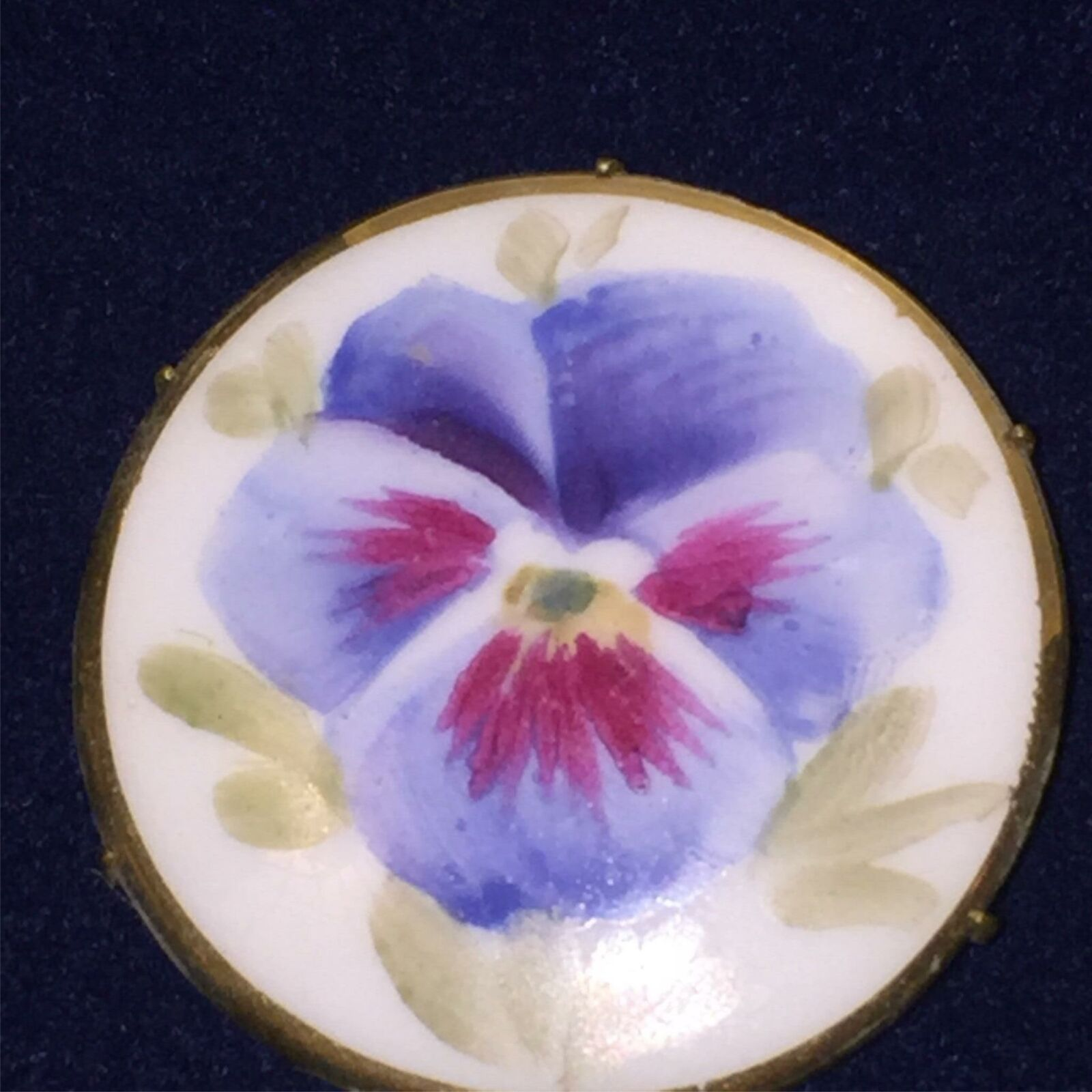 Antique Victorian Pansy Flower Blue Hand Painted … - image 1