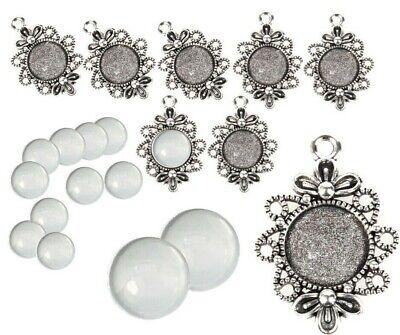25 SET Cabochon Klar Glas 12mm Silber Fassungen 30mm Anhänger Medaillons DIY S18