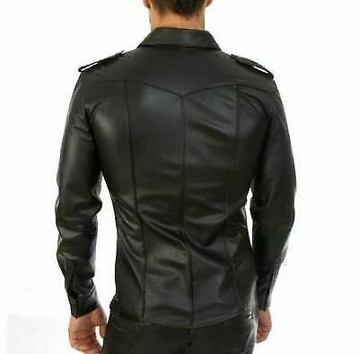 MEN-039-S-REAL-BLACK-LEATHER-POLICE-MILITARY-STYLE-SHIRT-BLUF-FULL-SLEEVES