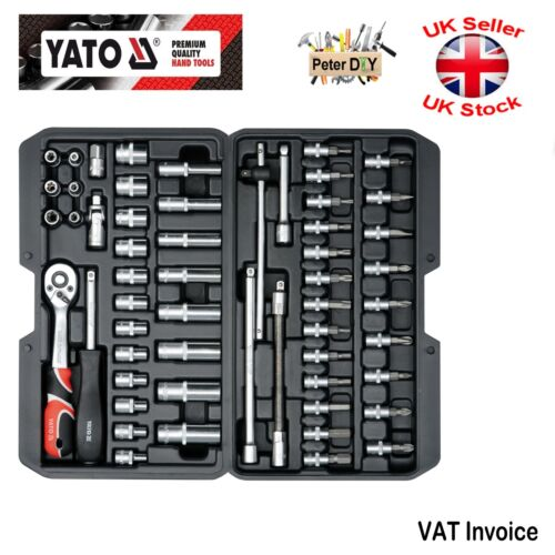 """YATO professionnelle 56pcs 1//4/"""" Clé à Cliquet Douille Set Outils Boîte à outils comme-Drive YT-14501"""