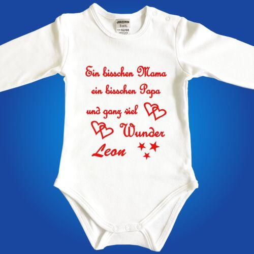 MIT oder OHNE Wunschname Jacky Babybody Ein bisschen Mama ein bisschen Papa