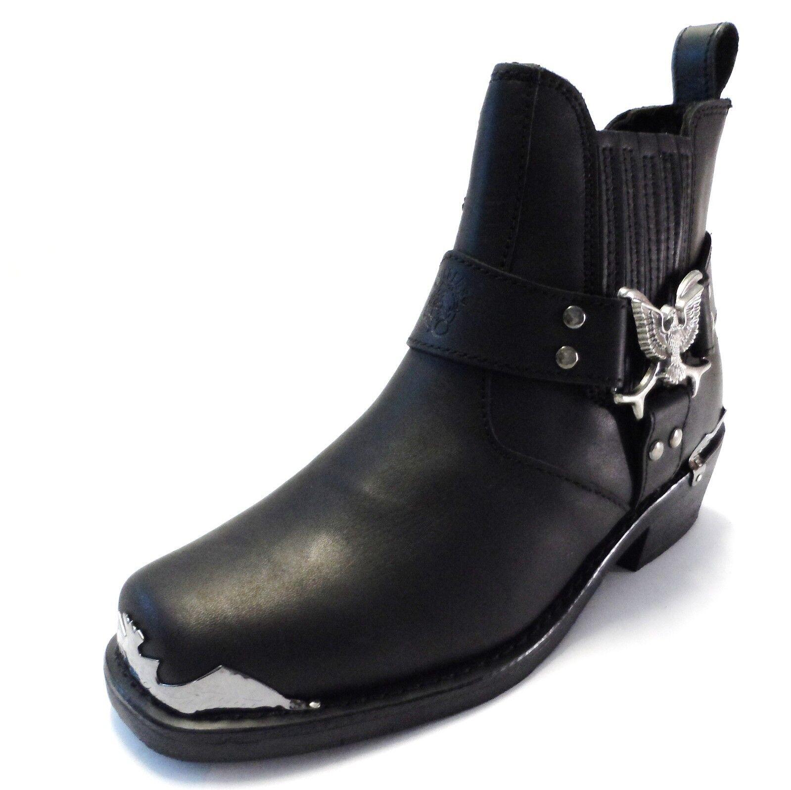 Grandes zapatos con descuento Grinders Eagle Lo Mens Black Biker Classic Style Cowboy Boots