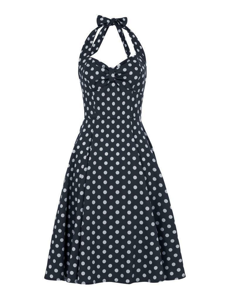 COLLECTIF VINTAGE NAVY JOANNA POLKA DOT DOLL DRESS SZ 10 10 10 - 22 1950S SWEETHEART 5e1384