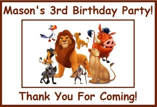 """4 Personalized The Lion King Party Stickers,3 1//4/"""",Birthday Favors Loot Labels"""
