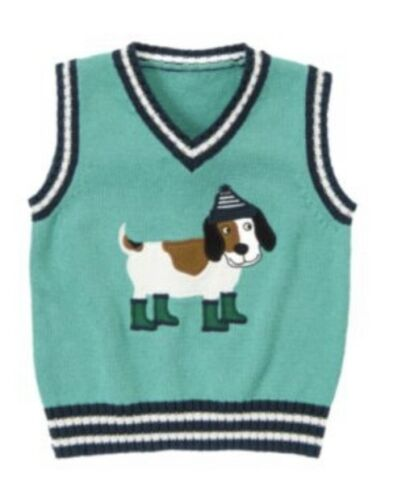 Gymboree Loch Ness Heroes 2T Vest Sweater hoodie Dinosaur Green Striped Dog