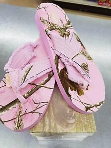 Women-039-s-Realtree-Double-Reed-Pink-Camouflage-Flip-Flops-Sizes-5-8-9-10