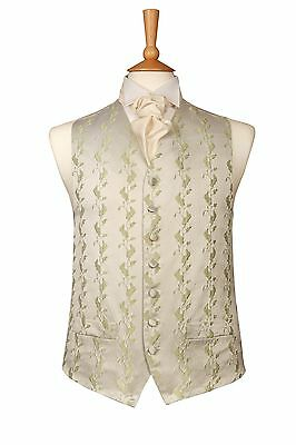MENS BOYS DESIGNER PALE GREEN WITH IVORY WEDDING DRESS SUIT WAISTCOAT ALL SIZES