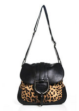 Dolce & Gabbana Leopard Print Canvas Leather Trim Large Saddle Handbag