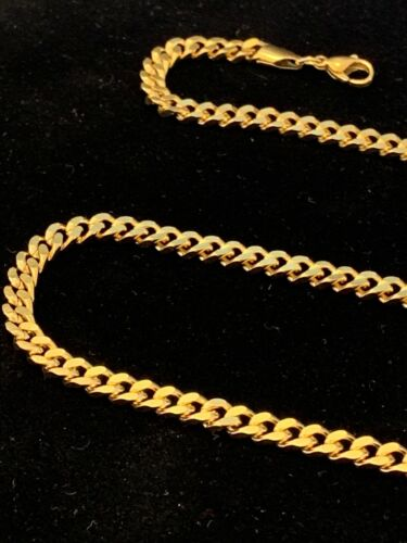 18k Gold Plated 5mm Cuban Link Chain//Necklace 28in Will Not Fade