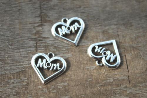Mom Charms Antique Tibetan silver Mom heart Charms pendants  21x20mm 20pcs-