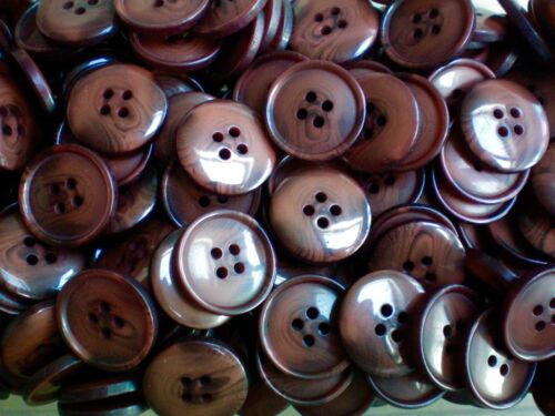 20mm 32L Rich Brown Warm Brown Swirl Pattern 4 Hole Craft Sewing Buttons W328