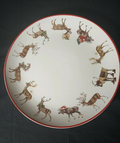 Pottery Barn Christmas holiday winter Silly Stag Reindeer serving Platter NWT