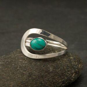 Retro-925-Silver-Turquoise-Gemstone-Ring-Wedding-Bridal-Women-Jewelry-Sz6-10-HOT
