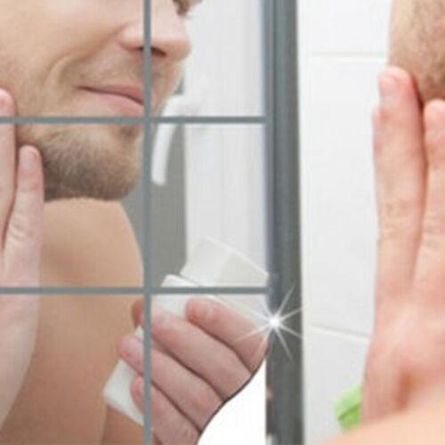 9pcs Self Adhesive Square Mirror Tile Wall Sticker Home Decor Stick On Art US