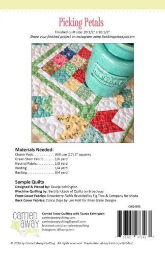 Pattern Picking Petals Minuture Quilt  NIP Charm Pack Friendly