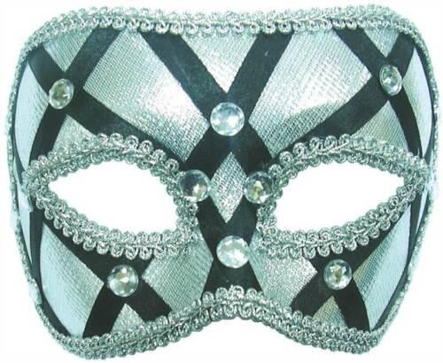 Silver and Black Eye Mask On a Headband Christmas Fancy Dress