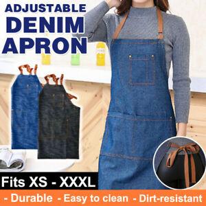 Denim-Adjustable-Hanging-Neck-Pocket-Bib-Baking-Cooking-Kitchen-Chefs-Bar-Apron