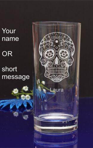 cadeau de noël 137 Personnalisé de sucre crâne gravé Hiball verre pour anniversaire