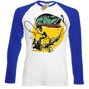 Fly-fishing-T-Shirt-Fisherman-gift-angling-anglers-Mens-Baseball-top