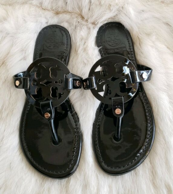 Tory Burch Miller Black Patent Leather Sandal Size 8M