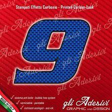 Adesivo Stickers NUMERO 9 moto auto cross gara Carbon Effect Blu 15 cm