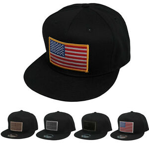 KBethos Flat Bill Snap Back American Flag Patch Cap - Black - FREE ... cd3bcecdd0
