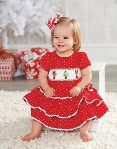 New mud pie corduroy smocked tiered dress red holiday christmas 12 18