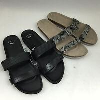 Gap Factory Double 2 Strap Slide Sandals - Black/reptile Print
