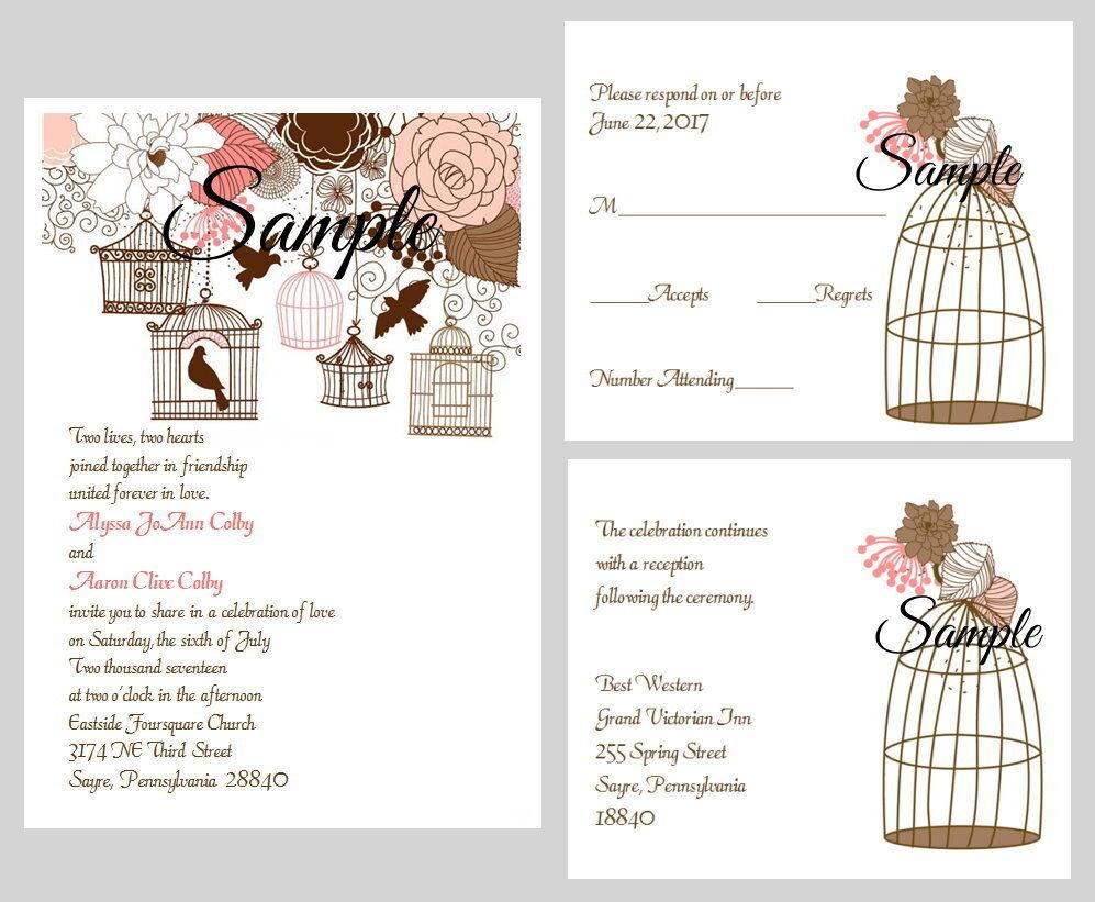 100 Personnalisé Vintage Cage d'oiseau Rose Marron Floral Mariage Invitations Set