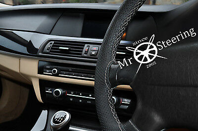FOR TOYOTA PRIUS MK3 09 PERFORATED LEATHER STEERING WHEEL COVER GREY DOUBLE STT