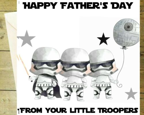 Happy Fathers Day Star Wars Trooper Greetings Carte D/'Anniversaire Blanc Paillettes famiyl