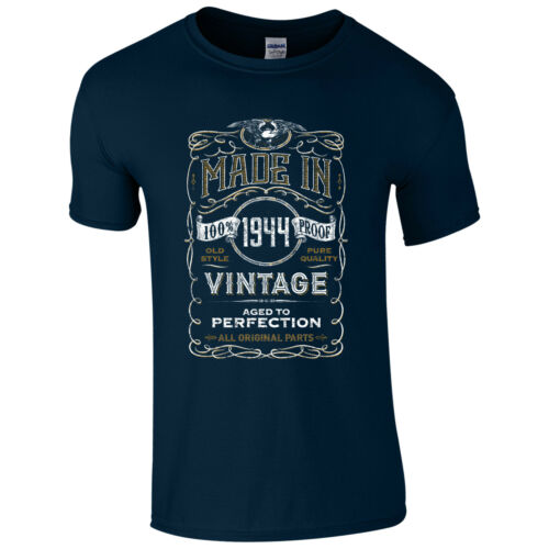 Made in 1944 T-Shirt Born 75th Year Birthday Age Present Vintage Funny Mens Gift