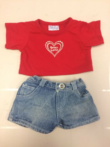 "Build a Bear Valentine Red Shirt Heart ""Beary Loved"" & Jeans boy or girl"