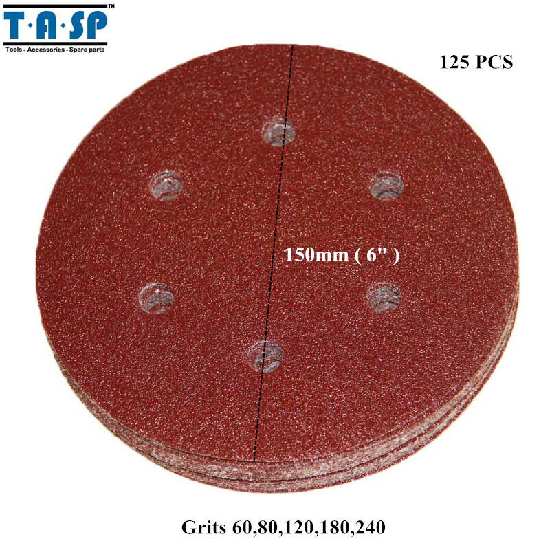 125PC 6  150mm Sandpaper Sanding Disc Rotary Hook Loop Sander Grit 60 240
